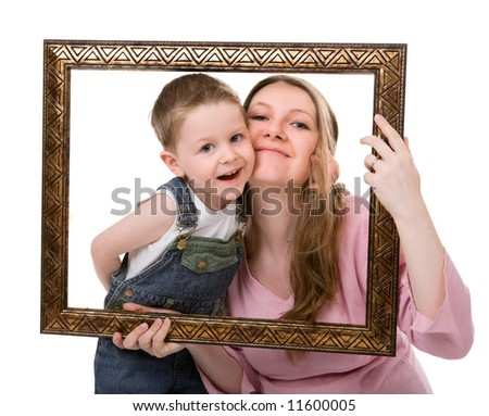 Casual portrait of mother and son having fun together playing with frame. Isolated on white - stock photo