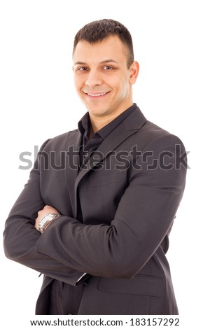 casual portrait of smiling successful businessman in black suit