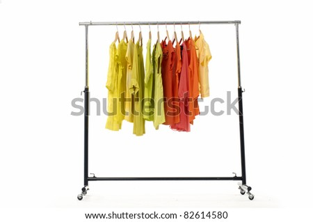 Casual rack clothes isolated on hanger - stock photo