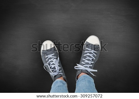Casual shoes against black background