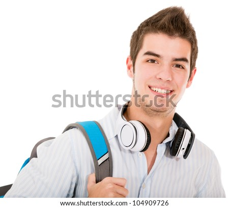 Casual student holding backpack and headphones - isolated over white - stock photo