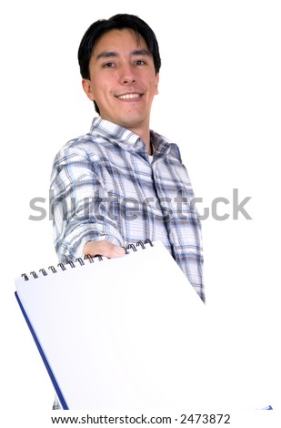 casual student offering notebook over a white background (shallow DOF) - stock photo