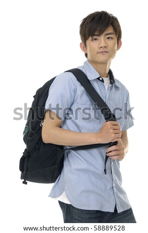 casual student with backpack over white