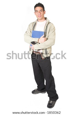casual student with notebook over white - stock photo