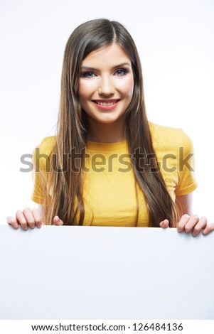 Casual style smiling  woman portrait show blank card. - stock photo