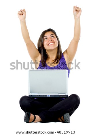 casual success girl on a laptop computer isolated over a white background