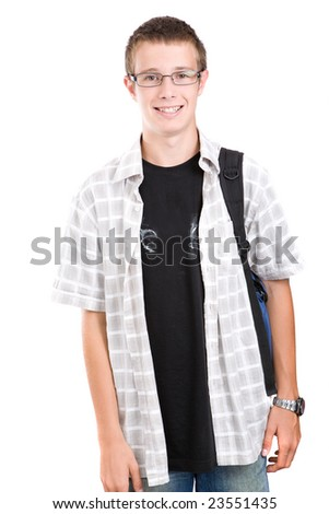casual teen preparing to school - stock photo