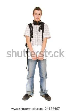 casual teen preparing to school standing on white background - stock photo