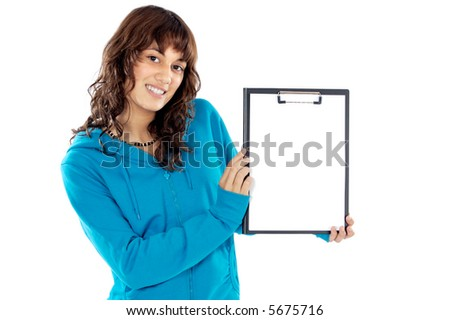 casual teen whit clipboard  a over white background