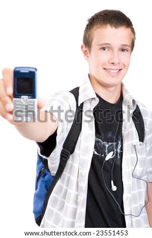 casual teen with mobile phone