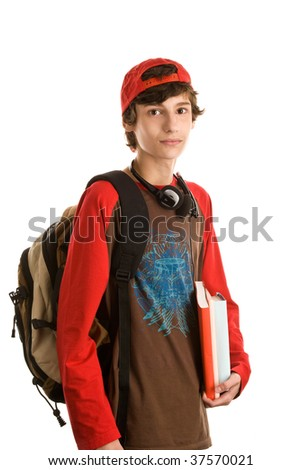 Casual teenage boy preparing to school standing isolated on white background - stock photo