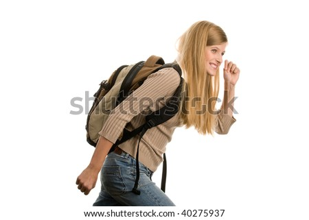 Casual teenage girl going to school isolated on white background