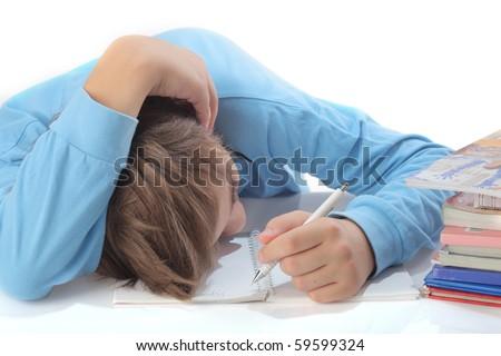 casual teenager fallen asleep during studying - stock photo