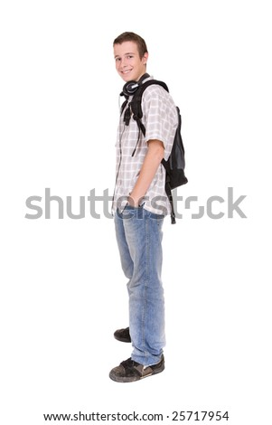 casual teenager preparing to school standing on white background