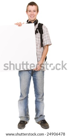 casual teenager ready to school - stock photo