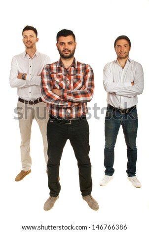 Casual three executives men with arms folded isolated on white background - stock photo