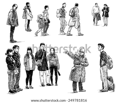 casual townspeople - stock photo