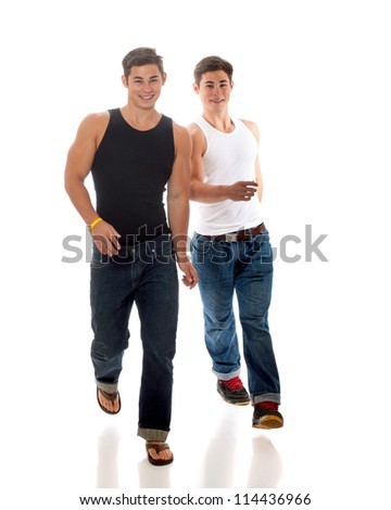 Casual twin brothers. Studio shot over white. - stock photo