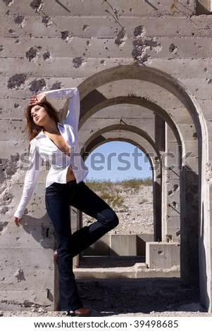 Casual urban girl in jeans - stock photo