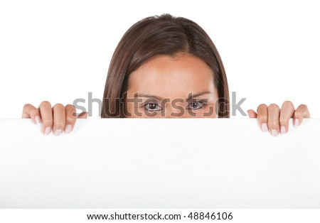 casual woman displaying a banner ad isolated over a white background