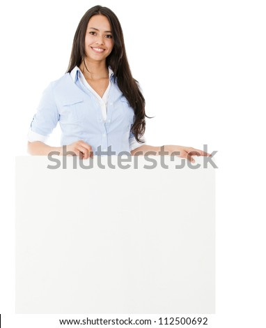 Casual woman holding a banner - isolated over a white background