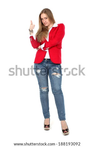 Casual woman in red  smiling standing isolated over a white background