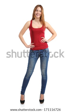 Casual woman model posing standing with jeans and shirt isolated on a white background               - stock photo