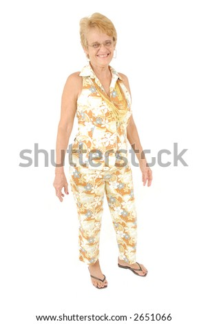 Casual Woman or Senior using a happy summer cloth - stock photo