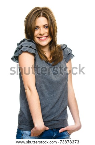 Casual woman portrait on white background isolated