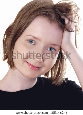 Casual woman portrait smiling, over white background - stock photo