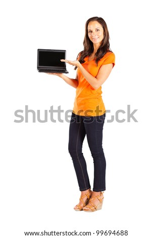 casual woman presenting laptop