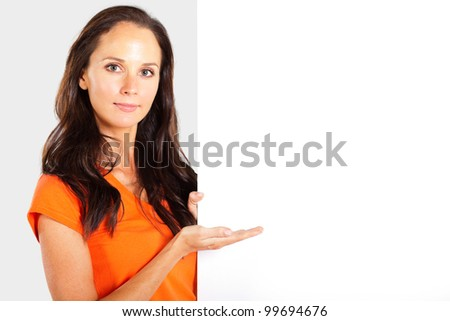 casual woman presenting white board