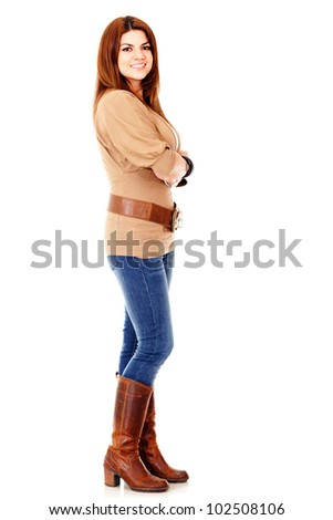 Casual woman stading - isolated over a white background - stock photo