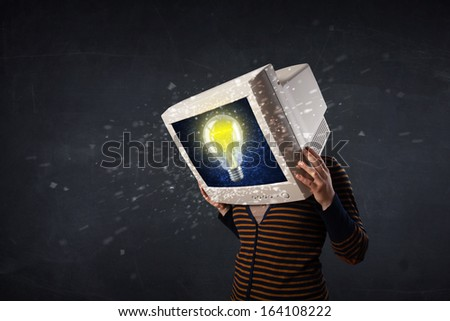 Casual woman with a pc monitor head and question marks comming out of the screen - stock photo