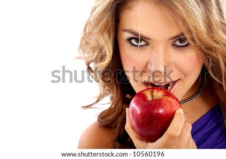 casual woman with an apple isolated over a white background
