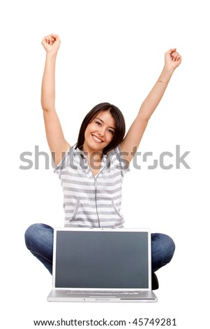 Casual woman with computer isolated over a white background