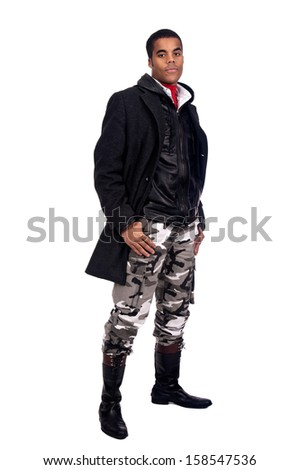 Casual young black man isolated in white - stock photo