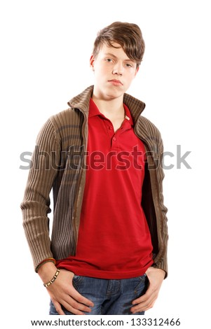 casual young boy on a white background - stock photo
