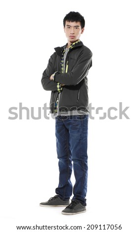casual young man full body on white background
