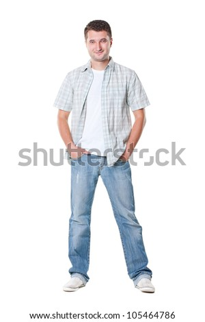 casual young man in shirt and jeans. isolated on white background