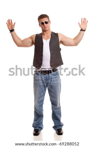 Casual young man in vest and jeans. - stock photo