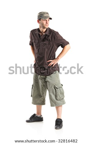 Casual young man on white background - stock photo