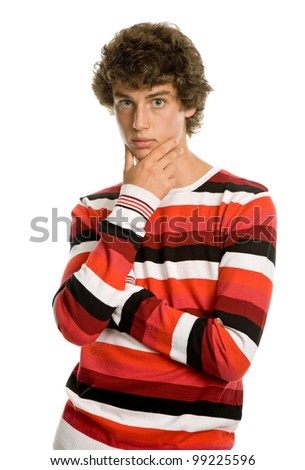 casual young man portrait, isolated on white - stock photo