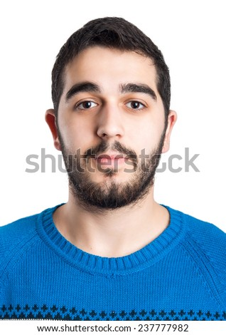 Casual Young Man Portrait - Isolated on White Background. - stock photo