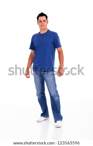 casual young man posing on white background - stock photo