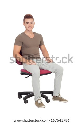 Casual young man sitting on an office chair isolated on a white background - stock photo