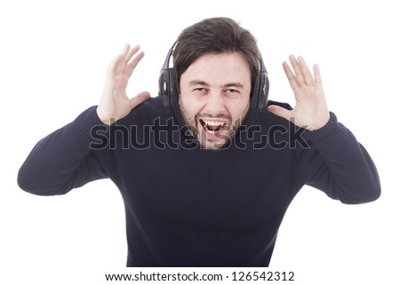 casual young man with headphones