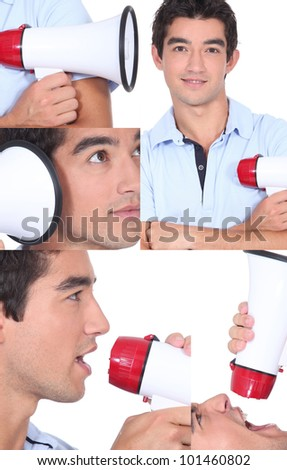 Casual young man with megaphone - stock photo
