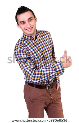 Casual young man with plaid shirt isolated on white background