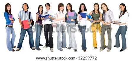 casual young students on a white background